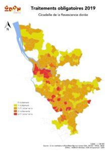 Carte des traitements sur le GDON des Bordeaux en 2019