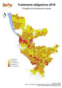 Carte des traitements sur le GDON des Bordeaux en 2018