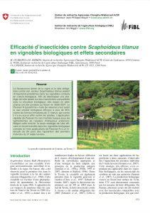 Insecticides en viticulture biologique et effets secondaires