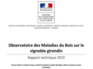 Rapport technique des maladies du bois en Gironde en 2019